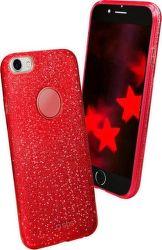SBS Sparky Glitter puzdro pre iPhone 8/7/6S, červená