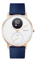 Nokia Steel HR 36 mm ružovo-zlaté s modrým koženým a sivým silikónovým remienkom