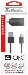 4-OK USB 12/24 V 2,4 A čierna Lightning kábel