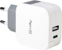 Celly 3,4A USB,USB-C sieťový adaptér, biely