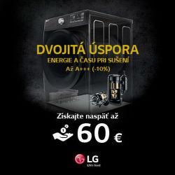 Cashback až do 60 € na sušičky LG