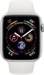 Apple Watch Series 4 44mm strieborný hliník/biely športový remienok