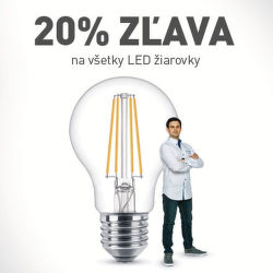 20% zľava na všetky LED žiarovky