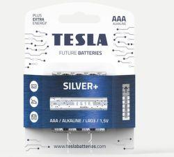 TESLA SILVER+ AAA 4ks, alkalická batéria
