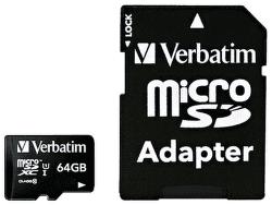 Verbatim microSDHC 64 GB Class 10 UHS-I + SD adaptér
