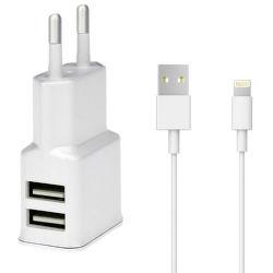 Winner sieťová nabíjačka 2X USB + dátový kabel MFI, biela