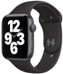 Apple Watch SE 44 mm vesmírne sivý hliník s čiernym športovým remienkom