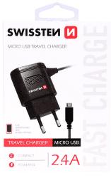 Swissten 2,4A microUSB nabíjačka, čierna