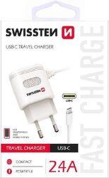 Swissten 2,4A USB-C nabíjačka, biela
