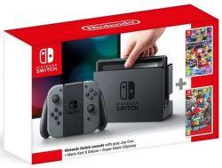 Nintendo Switch sivá + Mario Kart 8 Deluxe + Super Mario Odyssey