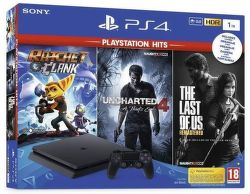 Sony PlayStation 4 Slim 1TB + Ratchet&Clank +Uncharted 4: A Thief's End + The Last Of Us (Remastered)
