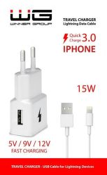 Winner sieťová nabíjačka Fast 1X USB + kabel lightning, biela