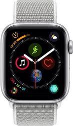 Apple Watch Series 4 44mm strieborný hliník/mušľovo biely prevliekací športový remienok