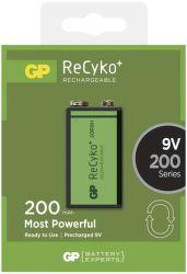 GP ReCyko+ 6F22 (9V), 200 mAh, nabíjacia batéria