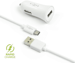 Fixed USB 2,4 A biela 1 m USB-C kábel