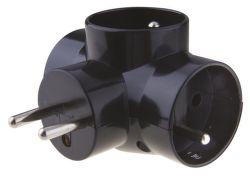 EMOX P0030 Zásuvka rozboč. 3X guľatá čierna