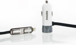 REMAX AA-1148 CCR102 auto adapter s micro USB / lighting - sivý