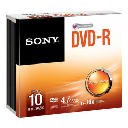 Sony DVD-R 4,7GB 16x, Slim, 10ks