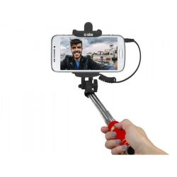 SBS mini selfie tyč s 3,5 mm konektorom 50 cm, červená