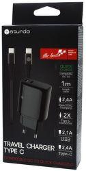 Sturdo QC sieťová nabíjačka USB/USB-C 2A + kábel