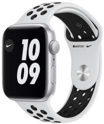 Apple Watch Nike SE 44 mm strieborný hliník s platinovo čiernym športovým remienkom Nike