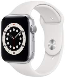 Apple Watch Series 6 44 mm strieborný hliník s biely športovým remienkom