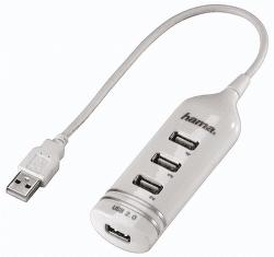 Hama 39788 USB 2.0 hub 1:4 biely
