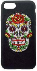 Mobilnet gumené puzdro pre iPhone 7/8 lebka, čierna