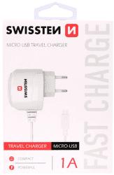 Swissten 1A microUSB nabíjačka, biela