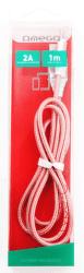 Omega Lightning - USB kábel 1,8A 1m, ružová