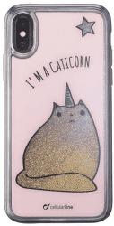 Cellularline Stardust gélové puzdro pre iPhone X, Caticorn