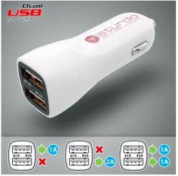 Strudo autonabíjačka 2x USB, biela + Lightning kábel 1 m
