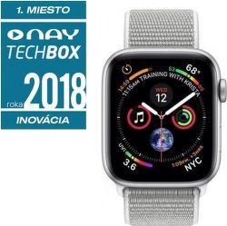 Apple Watch Series 4 40mm vesmírne šedý hliník/mušľovo biely športový prevliekací remienok