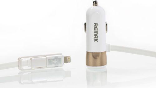 REMAX AA-1149 CCR102 auto adaptér s micro USB / lighting - zlatý