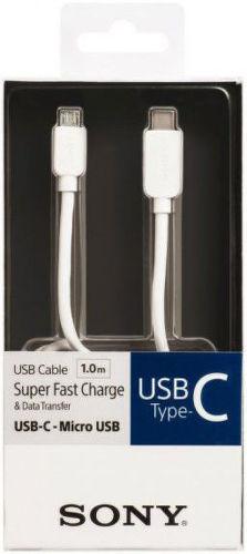 Sony CP-CB100 microUSB - USB-C kábel 1m, biela