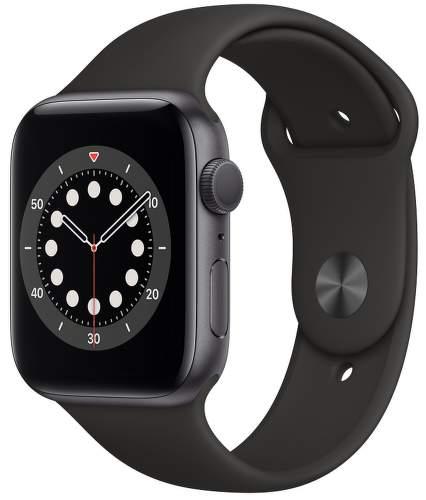Apple Watch Series 6 44 mm vesmírne sivý hliník s čiernym športovým remienkom-1