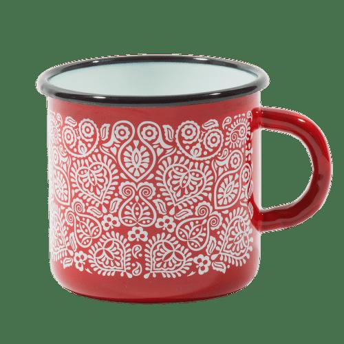 Štrbské Presso smaltovaný červený hrnček Plnokvet