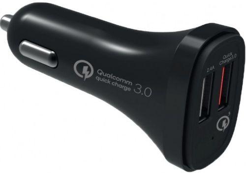 Winner 2xUSB QC autonabíjačka, čierna + dátový kábel USB-C