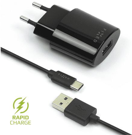 Fixed sieťová nabíjačka + dátový kábel USB-C 2,4 A, čierna