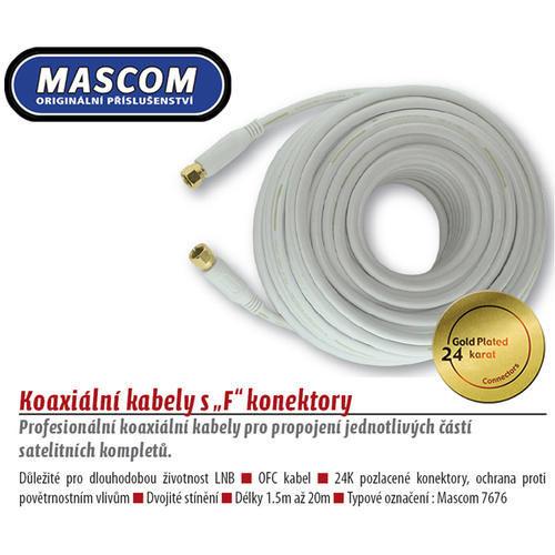 Mascom 7676-150W - koaxiálny kábel F-F konektory, OFC, 15 m