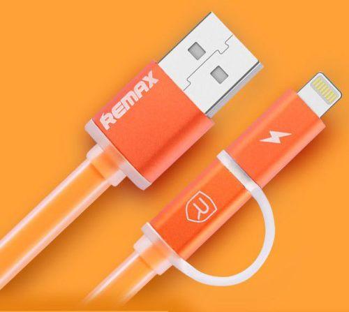Remax AA-1147 Aurora 2v1 Lightning/microUSB kabel, oranžová