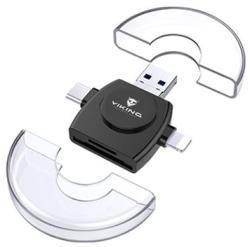 Viking 4v1 Lightning/micro USB/USB-A 3.0/USB-C čierna