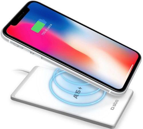 SBS Super Slim Ultra bezdrôtová nabíjačka 15W Qi, biela