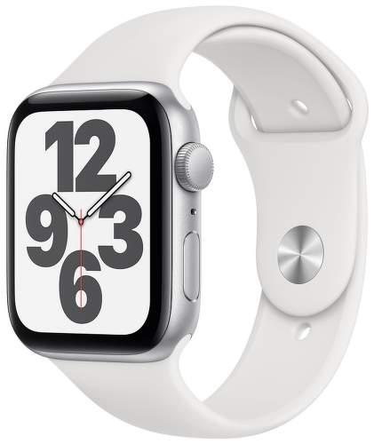 Apple Watch SE 44 mm strieborný hliník s bielym športovým remienok