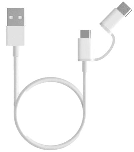 Xiaomi 2in1 microUSB/USB-C kábel 30 cm, biela