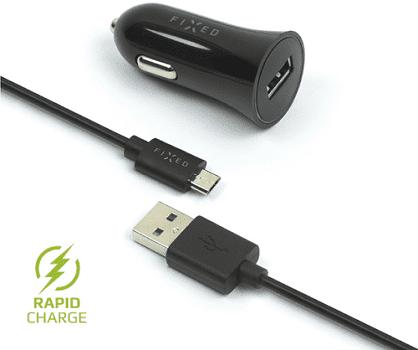 Fixed autonabíjačka + dátový kábel micro USB 2,4 A, čierna