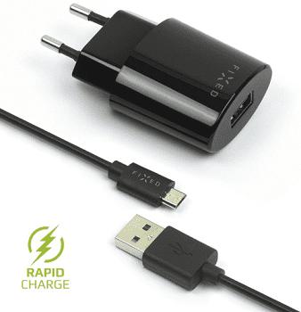 Fixed sieťová nabíjačka + dátový kábel micro USB 2,4 A, čierna