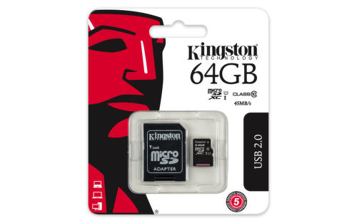 KINGSTON 64GB microSDXC 45MB/10MBs UHS-I class10 Gen 2