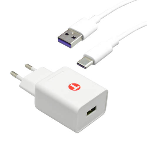 Mobilnet sieťová nabíjačka 3,4 A + dátový kábel USB-C 1 m biela