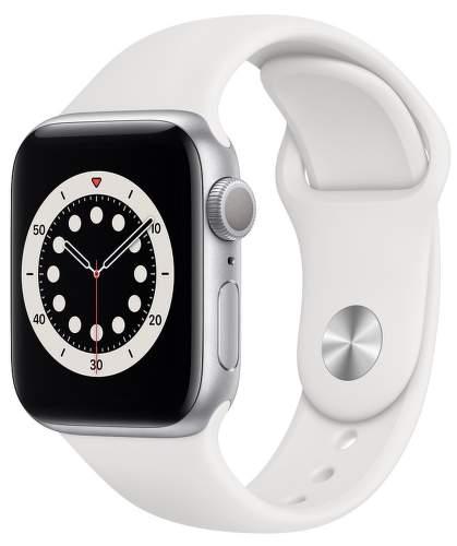 Apple Watch Series 6 40 mm strieborný hliník s bielym športovým remienkom-1